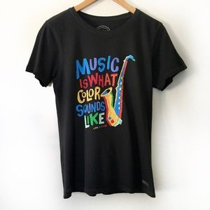Life is Good Music is Color cotton graphic tee M